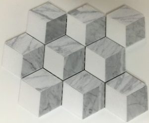marble mosaics -carrara white and thassos white, groved, 3-d