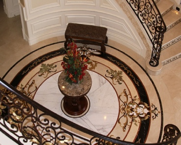 An example of installed marble medallions, Arcadia, CA
